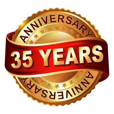 35 years anniversary golden label with ribbon