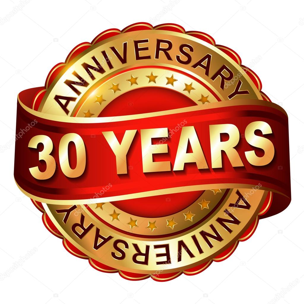 30 years anniversary golden label with ribbon stock vector
