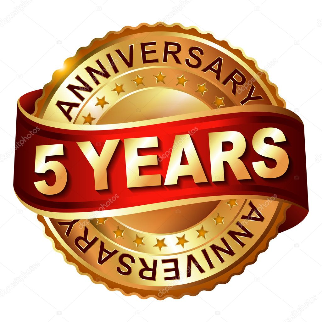 5 years anniversary golden label with ribbon stock vector 5 years anniversary golden label with ribbon stock vector biocorpaavc Gallery