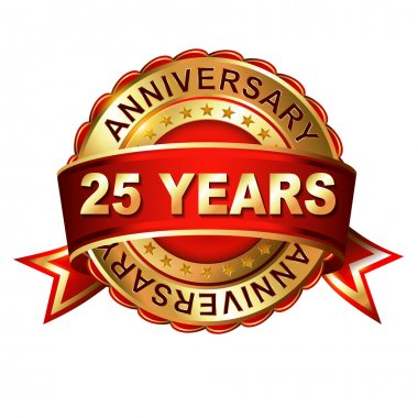 25 years anniversary label with ribbon.