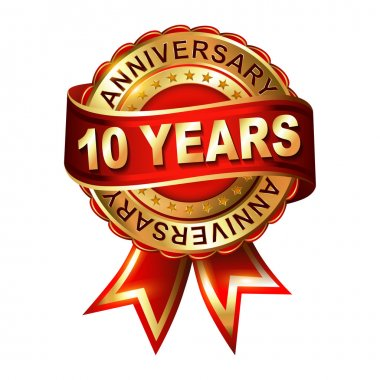10 years anniversary  label with ribbon.