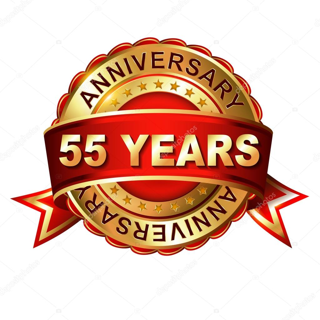 55 Years Anniversary Golden Label With Ribbon Vector By GalaStudio