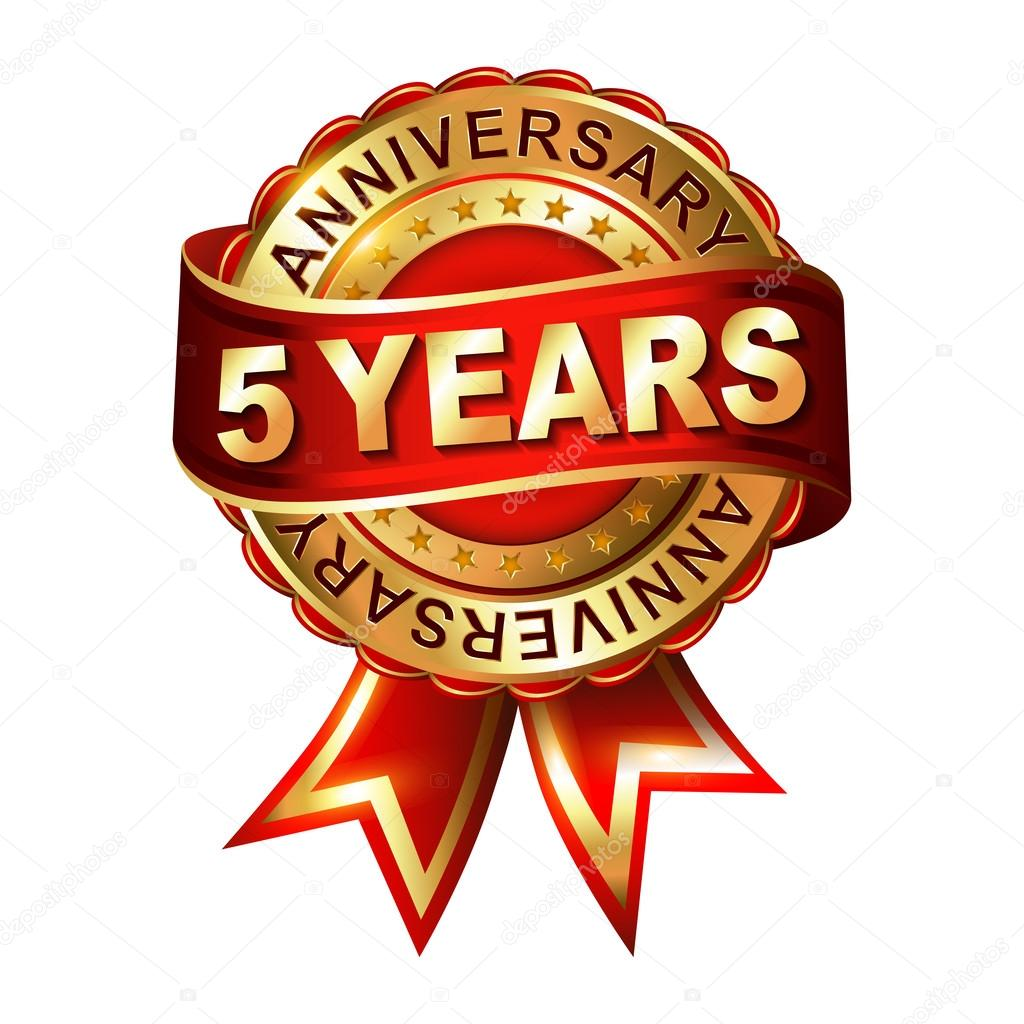 5 Years Anniversary Label With Ribbon Stock Vector Galastudio