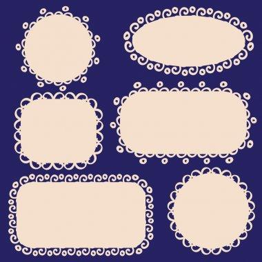 Set of vintage frames. Openwork tags, vector illustration.