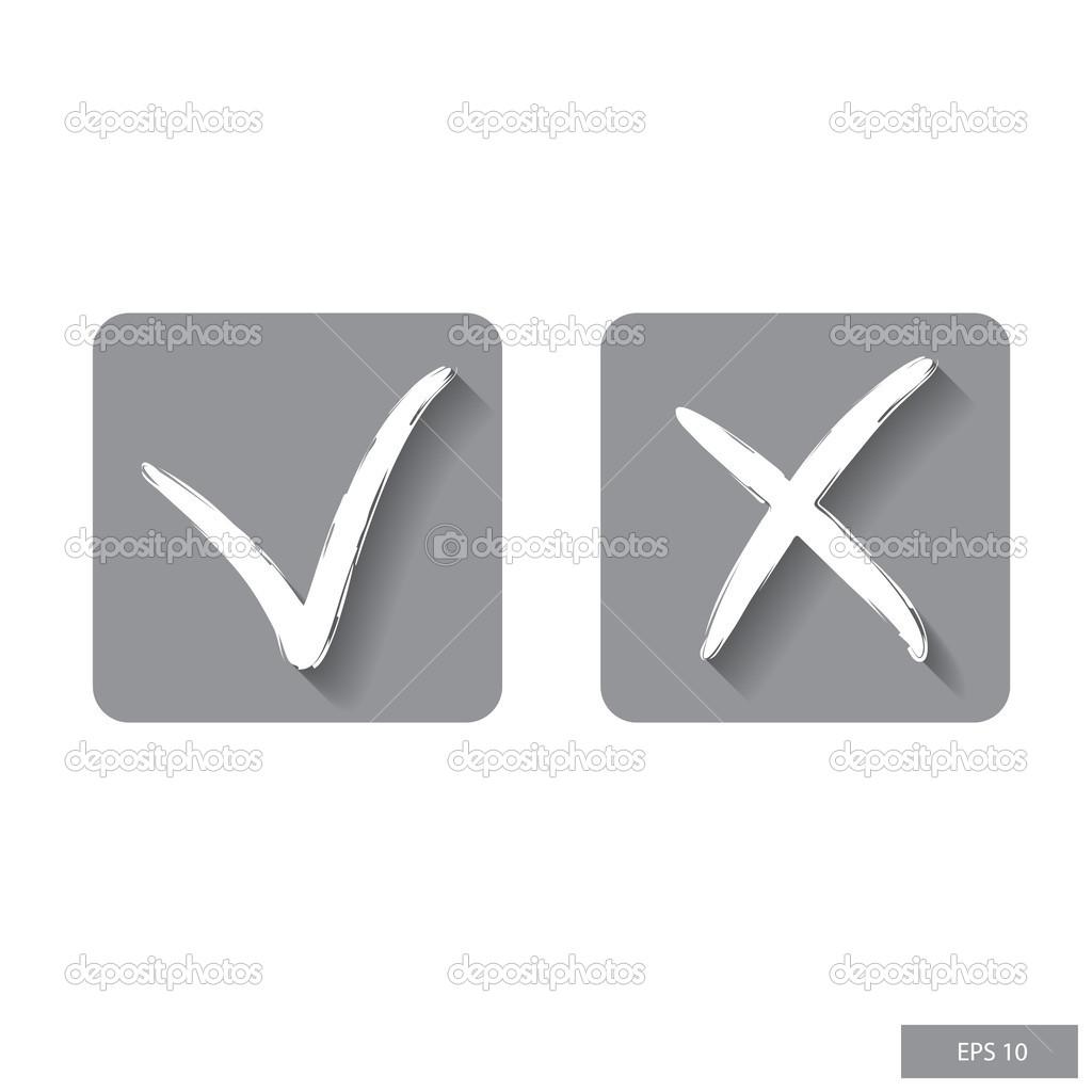 Check Mark Cross Mark Symbols Flat Design Vector Icon Stock