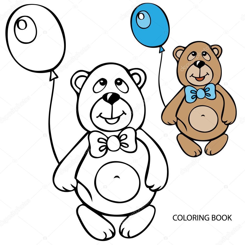 мишка тедди с шариками раскраска данном разделе