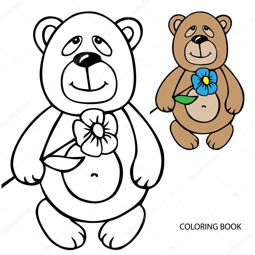 Boyama Kitabı çiçek Oyuncak Ayı Vektör çizim Siyah Kontur Stok
