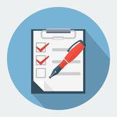 Vektor-Checkliste und Stiftspitze Stift-Symbol