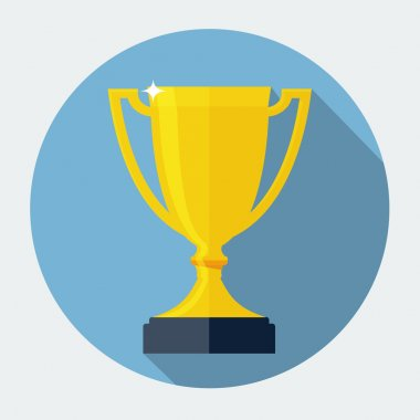 Vector Trophy Cup Flat Icon stock vector