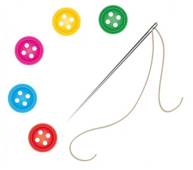 Sewing needle and thread with buttons