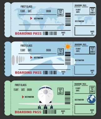 Boarding pass (airplane ticket), flat illustration