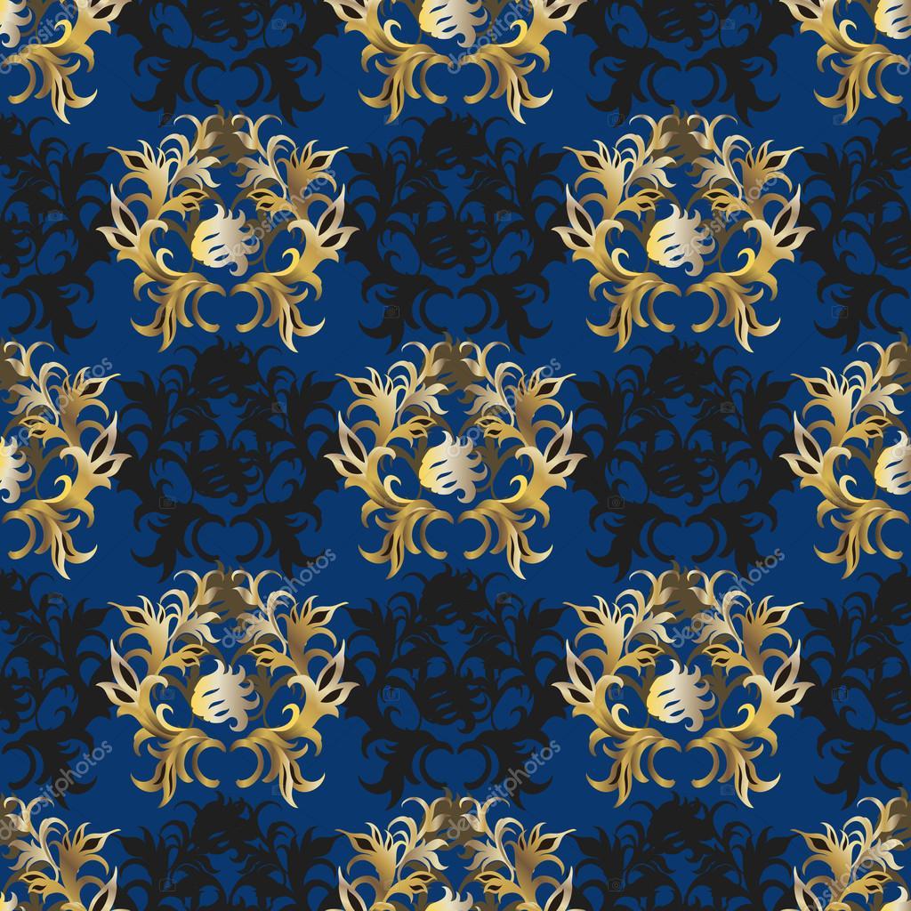 elegant vintage blue - gold wallpaper — stock vector © fractal86