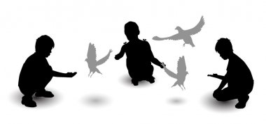 Children are fed pigeons