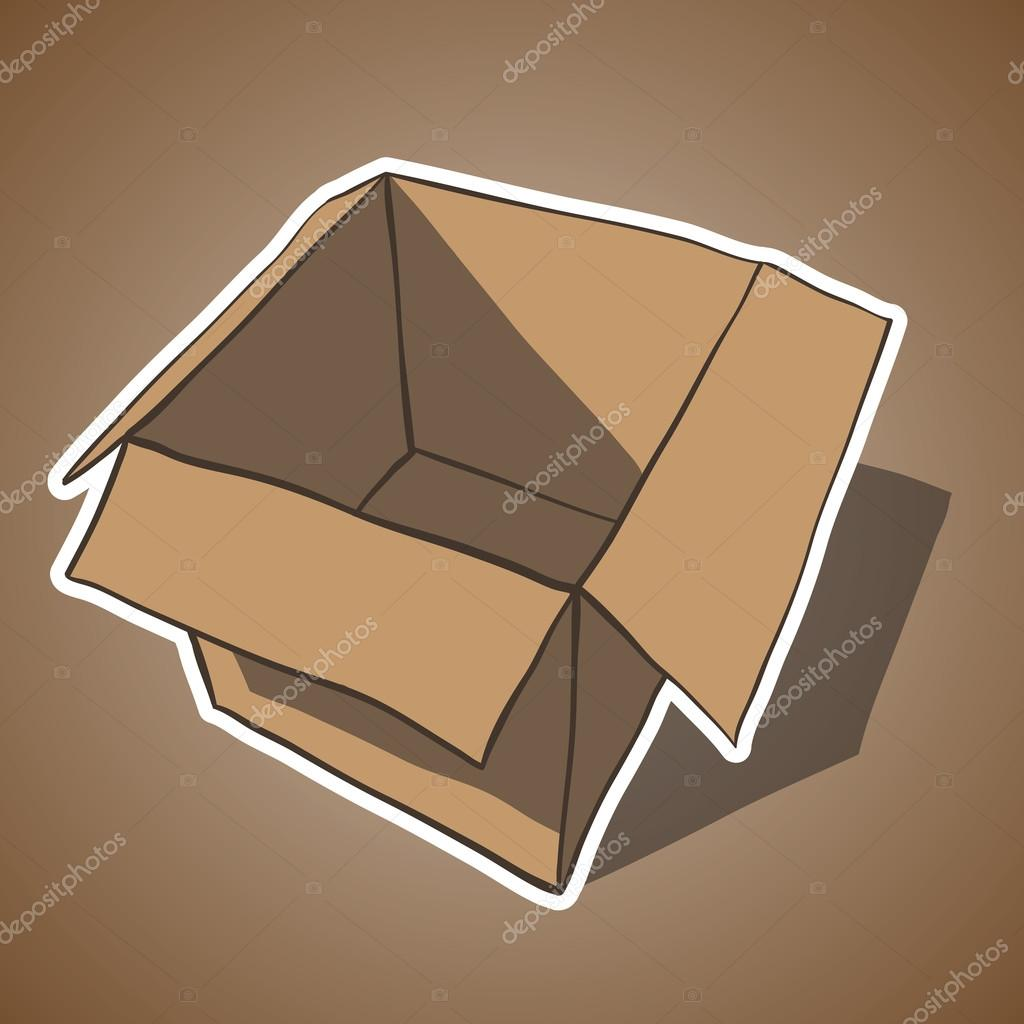Open box with white outline. Cartoon vector illustration