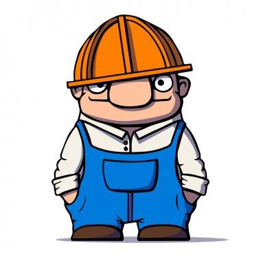 Funny cartoon worker, builder, plumber. Vector illustration