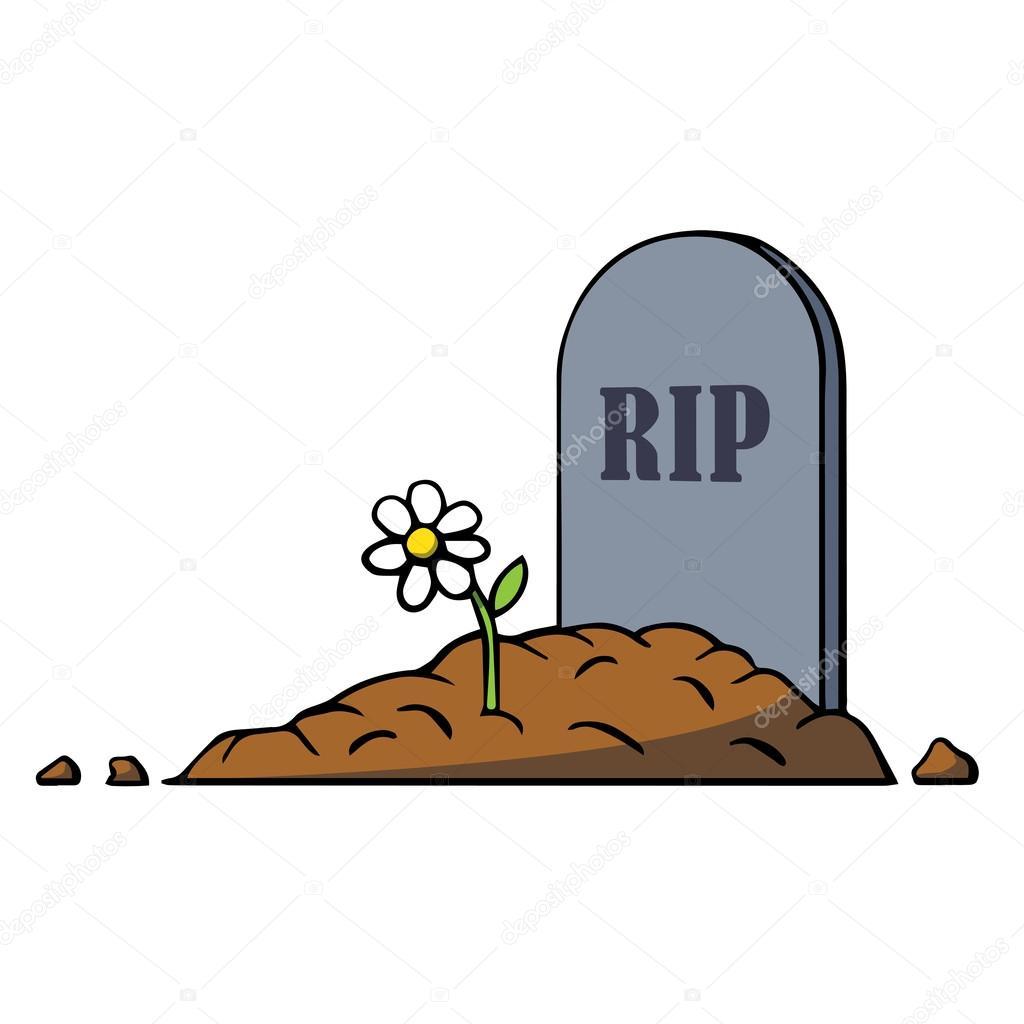 Tombe de dessin anim avec la pierre tombale et de fleur illustration vectorielle image - Pierre tombale dessin ...