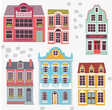 Cartoon detailed London houses