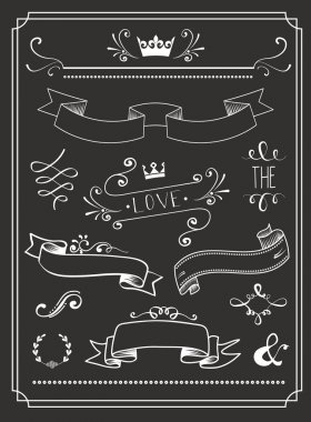 Chalkboard Wedding graphic set