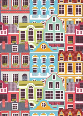 pattern with colorful houses