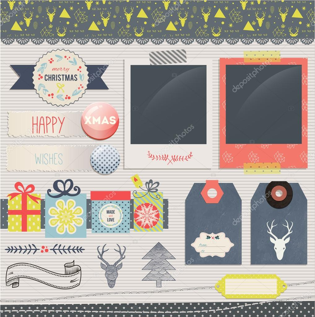 Scrapbook-Weihnachten-Design-Elemente — Stockvektor © lechernina ...