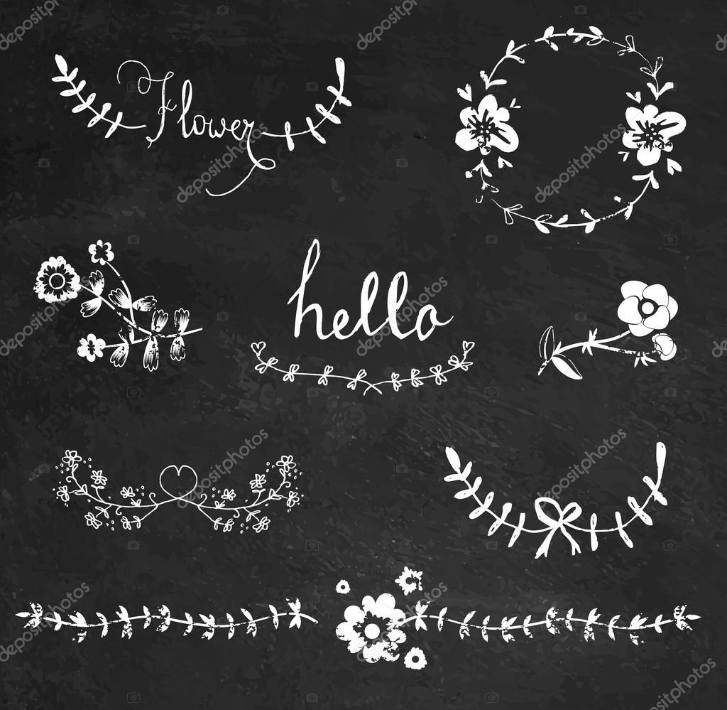 chalkboard graphic flower set stock vector lechernina 35791837