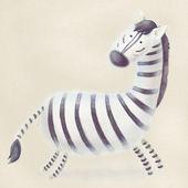 ilustrace roztomilé běží dítě zebra