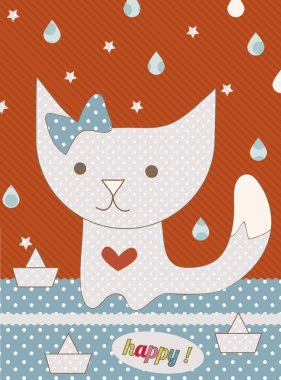 Cute pussy cat autumn greeting card with water drop