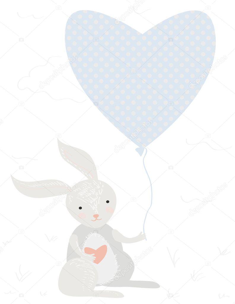 Vettore Disegno Di Un Bambino Con Palloncino Coniglietto Di