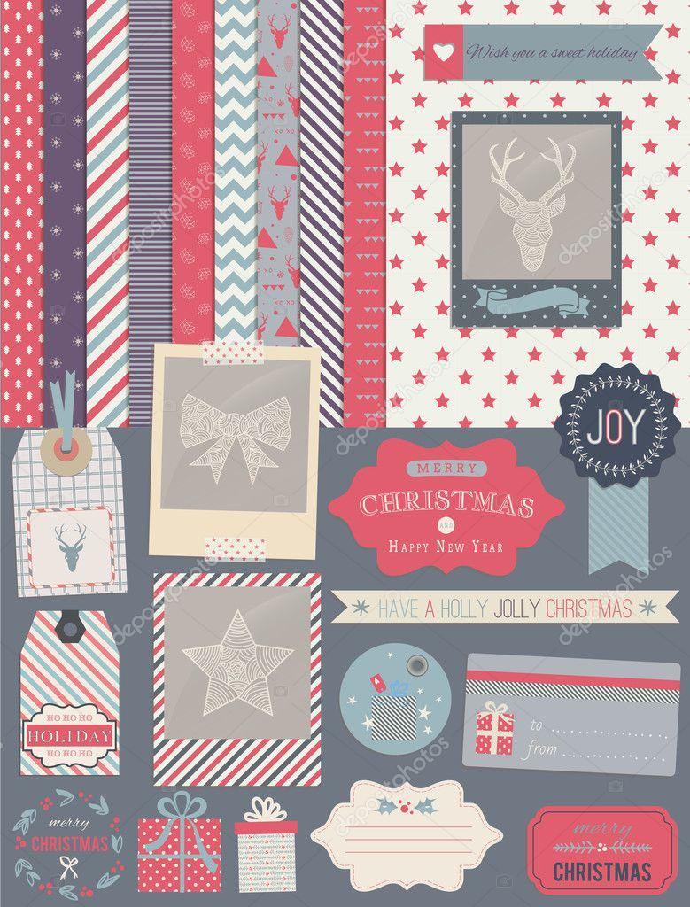 Weihnachten-Scrapbook-Design-Elemente — Stockvektor © lechernina ...