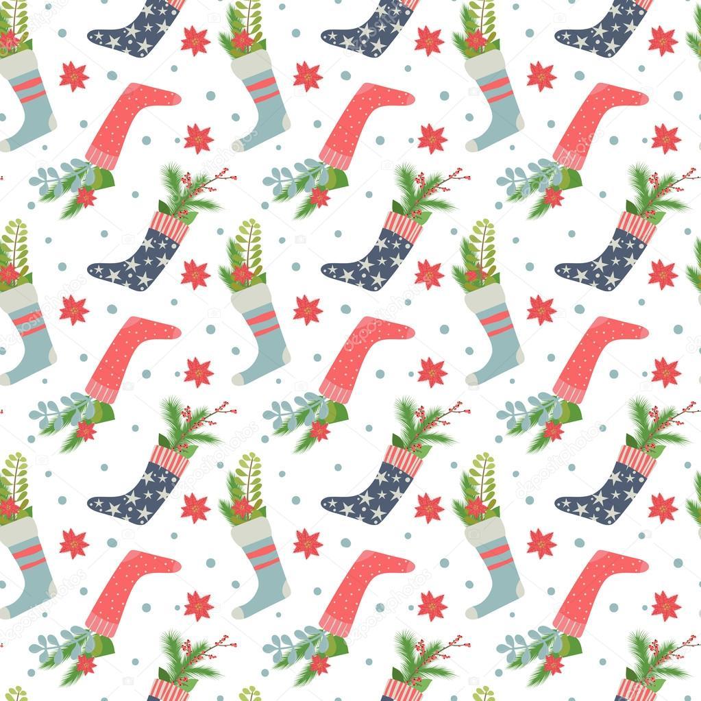 Navidad medias de patrones sin fisuras — Vector de stock ...