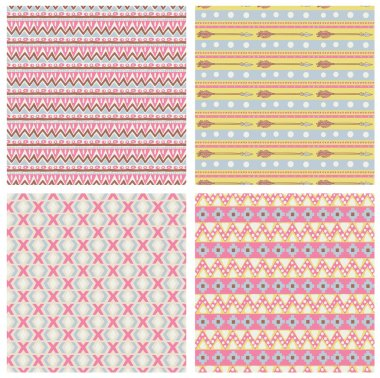 Hipster seamless tribal patterns with geometric elements and arr