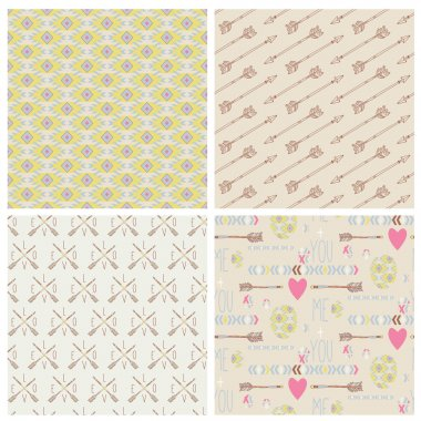 Set of hipster seamless tribal patterns
