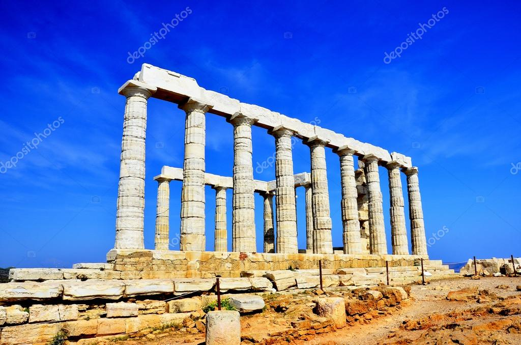 The Temple of Poseidon at Cape Sounion near Athens, Greece