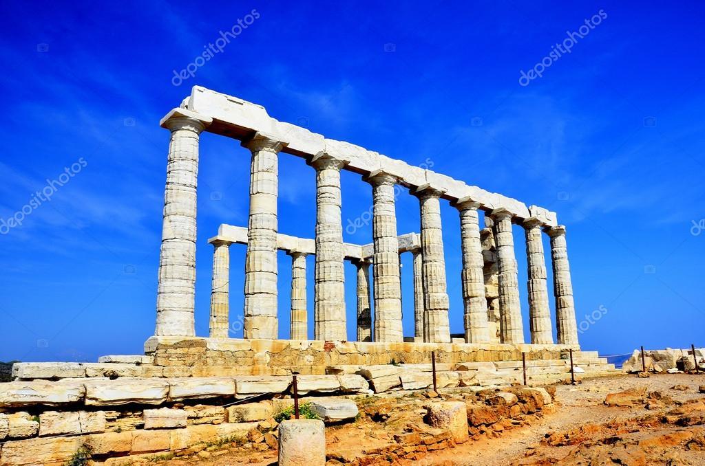 The Temple of Poseidon at Cape Sounion near Athens, Greece