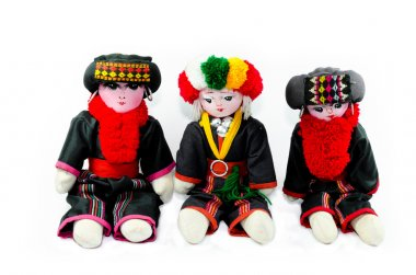 The Karen tribes dolls isolated on white background