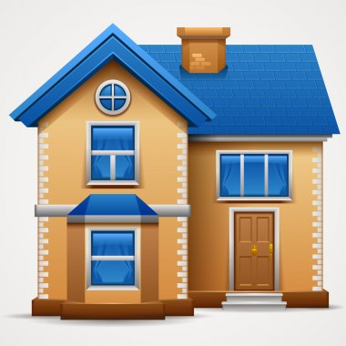 Vector illustration of cool detailed house icon isolated on white background