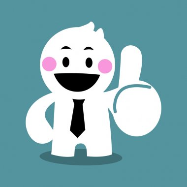 Cartoon cute business man thumb up