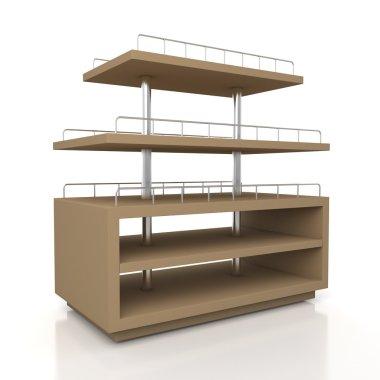 3d original brown racks shelves