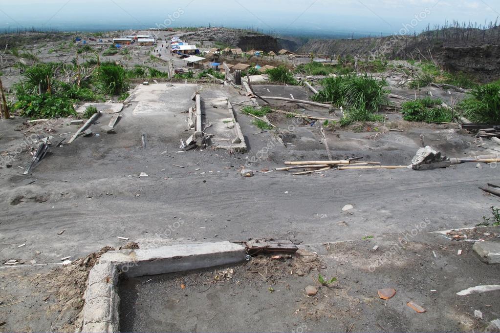 Devastation after volcano eruption