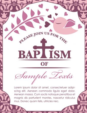 Baptism Card Invitation Bird and Pattern