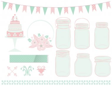 Wedding Clipart with Mason Jars in Vector