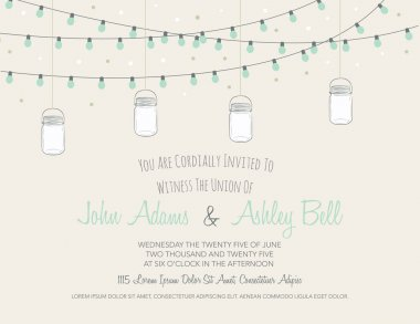 Wedding Invitation Card with Mason Jars