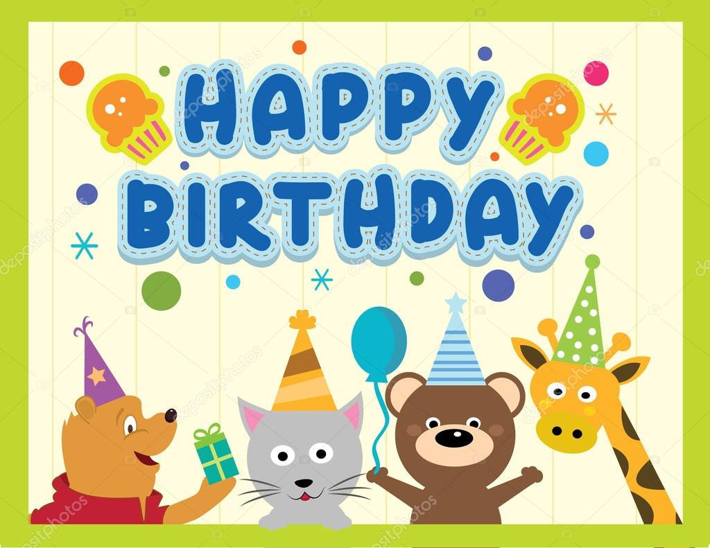 Happy Birthday Card With Animal Characters Vector By Pixejoo