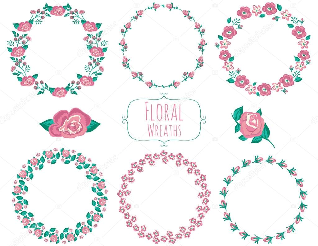 Wreath Flowers in Vector