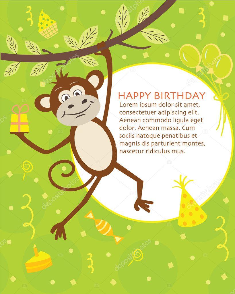 Открытки, открытка с обезьянкой на день рождения