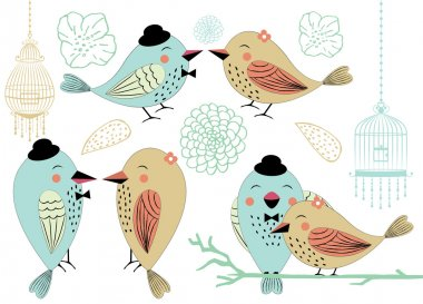 Love Birds and Birdcages Clipart in Vector