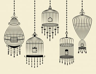 Set of Bird Cages Hanging in Vector and Black
