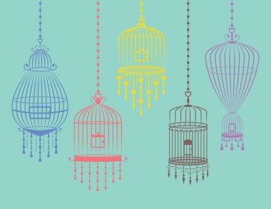 Colorful Birdcages Set in Vector