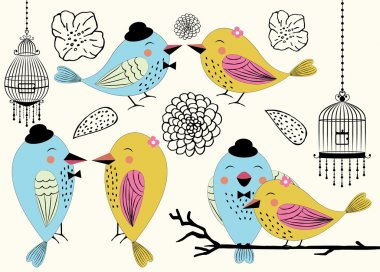 Love Birds and Birdcages in Vector