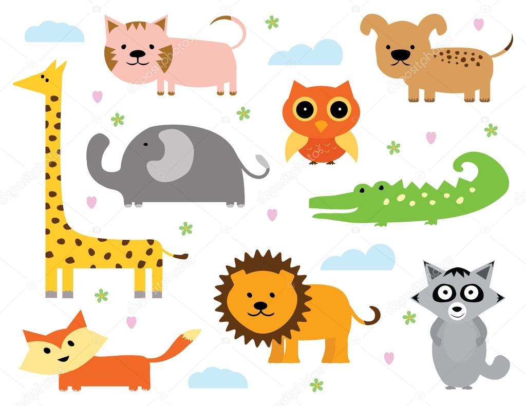ベクトルでかわいい動物クリップアート コレクション — ストックベクター